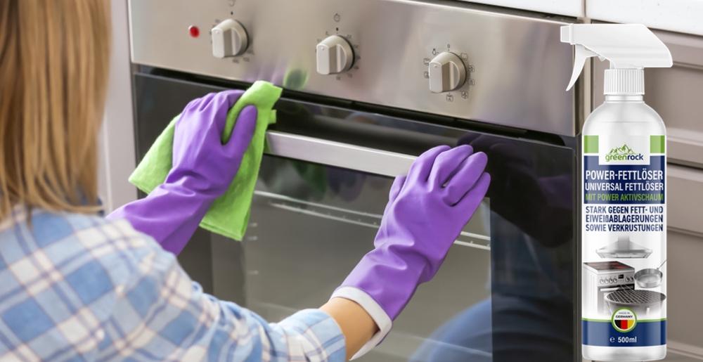 lila putzhandschuhe backofen grüner putzlappen tuch reinigung
